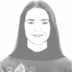 A black and white photo of Adel
