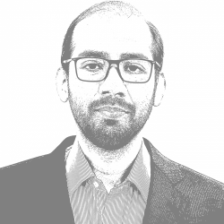 A black and white photo of Fahd